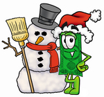 Clip Art Graphic of a Flat Green Dollar Bill Cartoon Character With a Snowman on Christmas