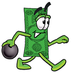 Clip Art Graphic of a Flat Green Dollar Bill Cartoon Character Holding a Bowling Ball