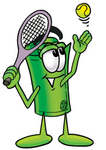 Clip Art Graphic of a Rolled Greenback Dollar Bill Banknote Cartoon Character Preparing to Hit a Tennis Ball
