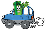 Clip Art Graphic of a Rolled Greenback Dollar Bill Banknote Cartoon Character Driving a Blue Car and Waving