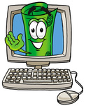 Clip Art Graphic of a Rolled Greenback Dollar Bill Banknote Cartoon Character Waving From Inside a Computer Screen