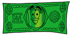 Clip Art Graphic of a Rolled Greenback Dollar Bill Banknote Cartoon Character on a Dollar Bill