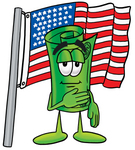 Clip Art Graphic of a Rolled Greenback Dollar Bill Banknote Cartoon Character Pledging Allegiance to an American Flag