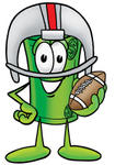 Clip Art Graphic of a Rolled Greenback Dollar Bill Banknote Cartoon Character in a Helmet, Holding a Football