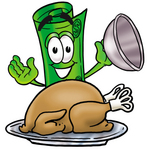 Clip Art Graphic of a Rolled Greenback Dollar Bill Banknote Cartoon Character Serving a Thanksgiving Turkey on a Platter