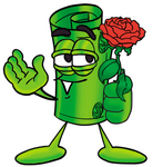 Clip Art Graphic of a Rolled Greenback Dollar Bill Banknote Cartoon Character Holding a Red Rose on Valentines Day