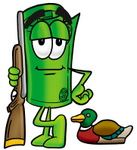 Clip Art Graphic of a Rolled Greenback Dollar Bill Banknote Cartoon Character Duck Hunting, Standing With a Rifle and Duck