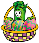Clip Art Graphic of a Rolled Greenback Dollar Bill Banknote Cartoon Character in an Easter Basket Full of Decorated Easter Eggs