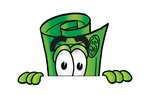 Clip Art Graphic of a Rolled Greenback Dollar Bill Banknote Cartoon Character Peeking Over a Surface