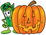Clip Art Graphic of a Rolled Greenback Dollar Bill Banknote Cartoon Character With a Carved Halloween Pumpkin