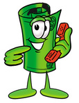 Clip Art Graphic of a Rolled Greenback Dollar Bill Banknote Cartoon Character Holding a Telephone