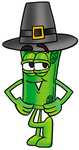 Clip Art Graphic of a Rolled Greenback Dollar Bill Banknote Cartoon Character Wearing a Pilgrim Hat on Thanksgiving
