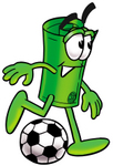Clip Art Graphic of a Rolled Greenback Dollar Bill Banknote Cartoon Character Kicking a Soccer Ball