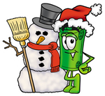 Clip Art Graphic of a Rolled Greenback Dollar Bill Banknote Cartoon Character With a Snowman on Christmas