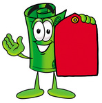 Clip Art Graphic of a Rolled Greenback Dollar Bill Banknote Cartoon Character Holding a Red Sales Price Tag