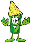 Clip Art Graphic of a Rolled Greenback Dollar Bill Banknote Cartoon Character Wearing a Birthday Party Hat