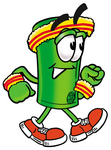 Clip Art Graphic of a Rolled Greenback Dollar Bill Banknote Cartoon Character Speed Walking or Jogging