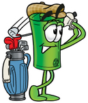 Clip Art Graphic of a Rolled Greenback Dollar Bill Banknote Cartoon Character Swinging His Golf Club While Golfing