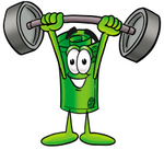 Clip Art Graphic of a Rolled Greenback Dollar Bill Banknote Cartoon Character Holding a Heavy Barbell Above His Head