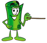 Clip Art Graphic of a Rolled Greenback Dollar Bill Banknote Cartoon Character Holding a Pointer Stick