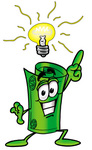 Clip Art Graphic of a Rolled Greenback Dollar Bill Banknote Cartoon Character With a Bright Idea