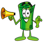 Clip Art Graphic of a Rolled Greenback Dollar Bill Banknote Cartoon Character Holding a Megaphone