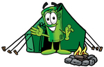 Clip Art Graphic of a Rolled Greenback Dollar Bill Banknote Cartoon Character Camping With a Tent and Fire