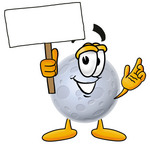 Clip Art Graphic of a Full Moon Cartoon Character Holding a Blank Sign