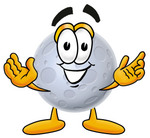 Clip Art Graphic of a Full Moon Cartoon Character With Welcoming Open Arms