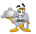 Clip Art Graphic of a Full Moon Cartoon Character Dressed as a Waiter and Holding a Serving Platter
