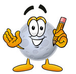 Clip Art Graphic of a Full Moon Cartoon Character Holding a Pencil