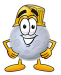 Clip Art Graphic of a Full Moon Cartoon Character Wearing a Hardhat Helmet