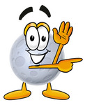 Clip Art Graphic of a Full Moon Cartoon Character Waving and Pointing
