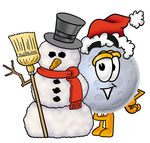 Clip Art Graphic of a Full Moon Cartoon Character With a Snowman on Christmas