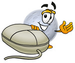 Clip Art Graphic of a Full Moon Cartoon Character With a Computer Mouse