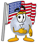 Clip Art Graphic of a Full Moon Cartoon Character Pledging Allegiance to an American Flag