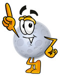 Clip Art Graphic of a Full Moon Cartoon Character Pointing Upwards