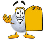 Clip Art Graphic of a Full Moon Cartoon Character Holding a Yellow Sales Price Tag