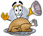 Clip Art Graphic of a Full Moon Cartoon Character Serving a Thanksgiving Turkey on a Platter