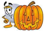 Clip Art Graphic of a Full Moon Cartoon Character With a Carved Halloween Pumpkin