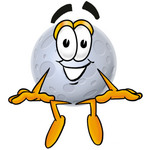 Clip Art Graphic of a Full Moon Cartoon Character Sitting