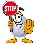 Clip Art Graphic of a Full Moon Cartoon Character Holding a Stop Sign