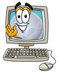 Clip Art Graphic of a Full Moon Cartoon Character Waving From Inside a Computer Screen