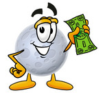 Clip Art Graphic of a Full Moon Cartoon Character Holding a Dollar Bill
