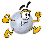 Clip Art Graphic of a Full Moon Cartoon Character Running