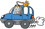 Clip Art Graphic of a Wired Computer Mouse Cartoon Character Driving a Blue Car and Waving