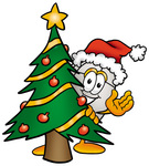 Clip Art Graphic of a Wired Computer Mouse Cartoon Character Waving and Standing by a Decorated Christmas Tree