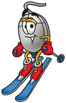 Clip Art Graphic of a Wired Computer Mouse Cartoon Character Skiing Downhill