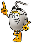 Clip Art Graphic of a Wired Computer Mouse Cartoon Character Pointing Upwards