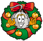 Clip Art Graphic of a Wired Computer Mouse Cartoon Character in the Center of a Christmas Wreath